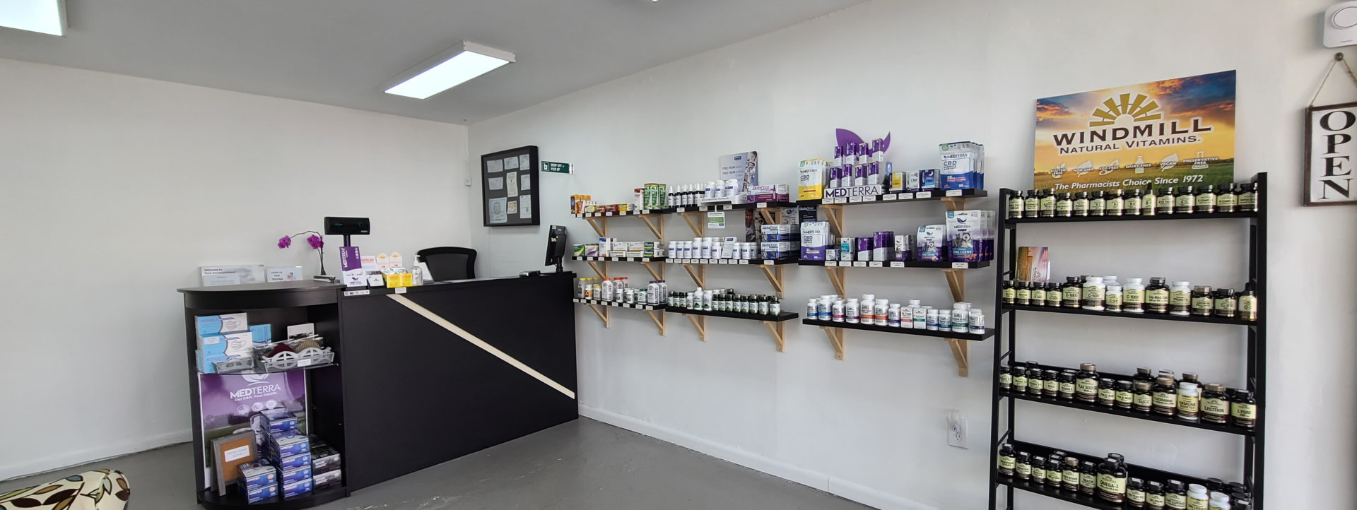 counter and shelves with medicines