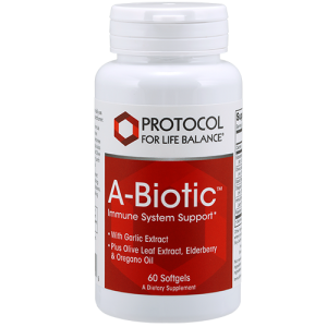 Abiotic immune system Support, white text with red background, white bottle, white background