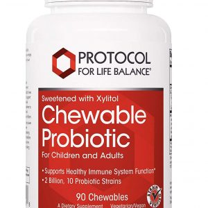 Chewable Probiotic Front, white text, red background, white bottle, white background