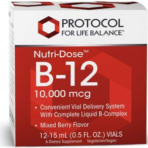 NutriDose B-12 Front Label, white text with red background, white container, white background