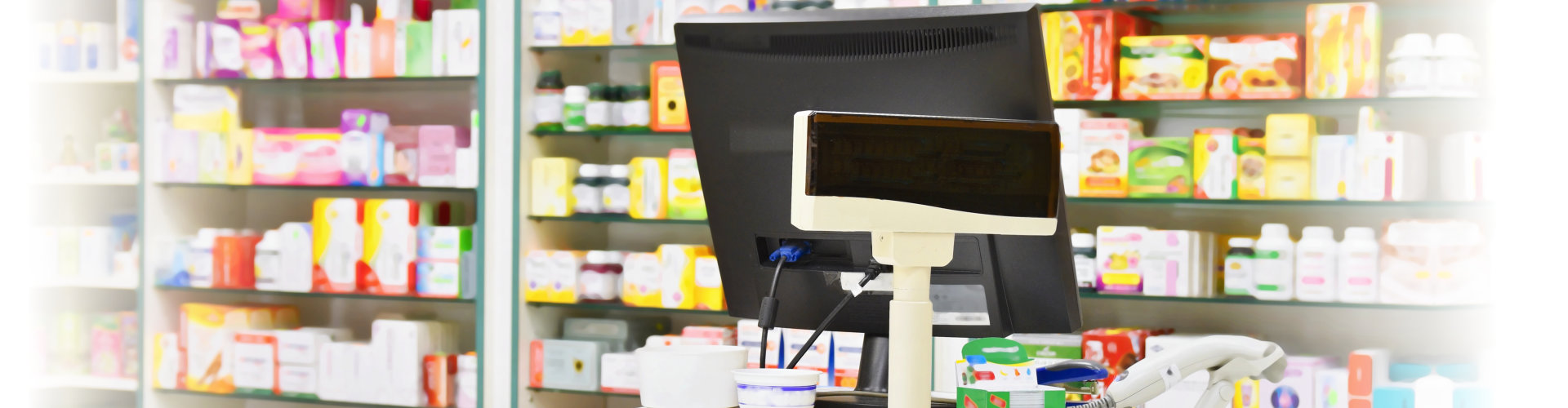 Cash desk - computer and monitor in a pharmacy