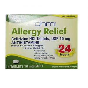 certirizine 10 mg allergy relief, green-yellow container, white background