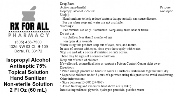 hand sanitizer label in black text, white background